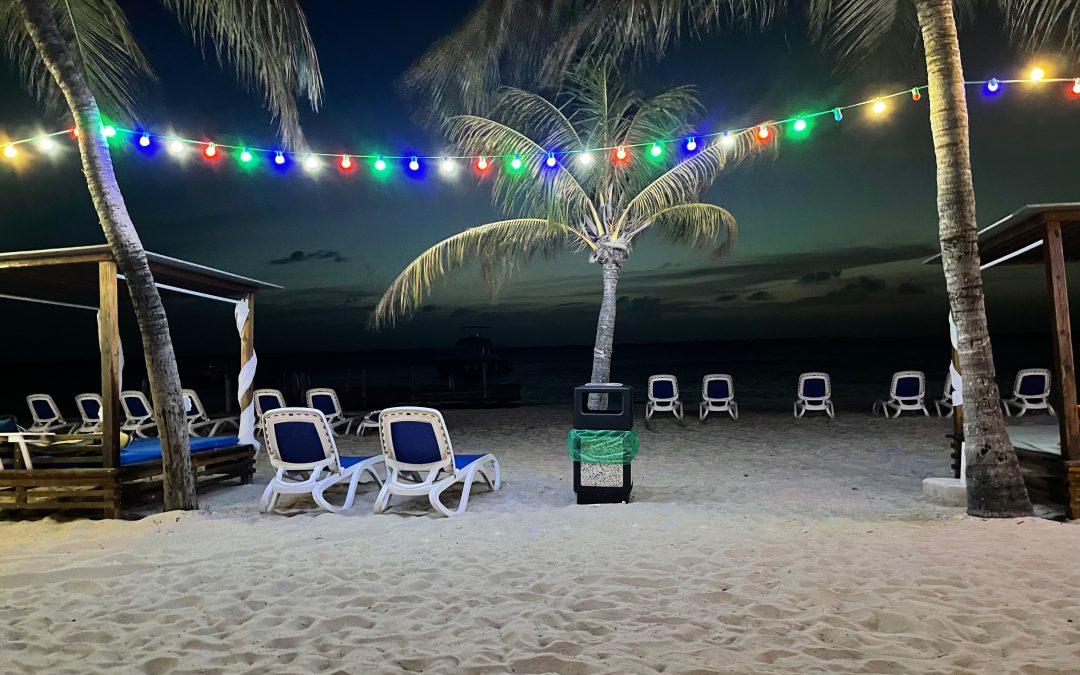 …Having Dinner on the Beach
